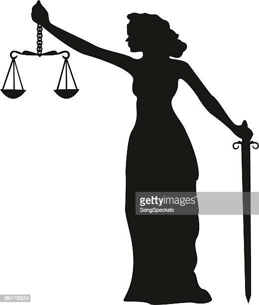 bildbanksillustrationer, clip art samt tecknat material och ikoner med lady justice silhouette - grekisk gudinna