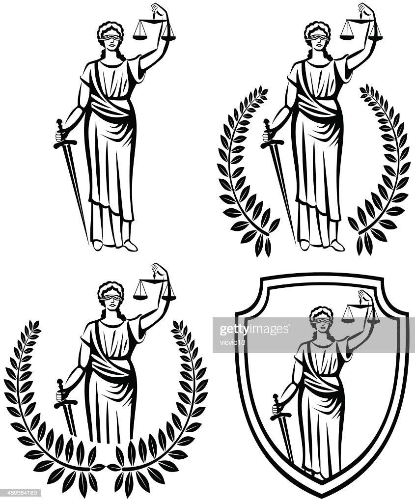 lady justice .  Themis  .  fair trial . Law . Laurel wreath .defense shield .