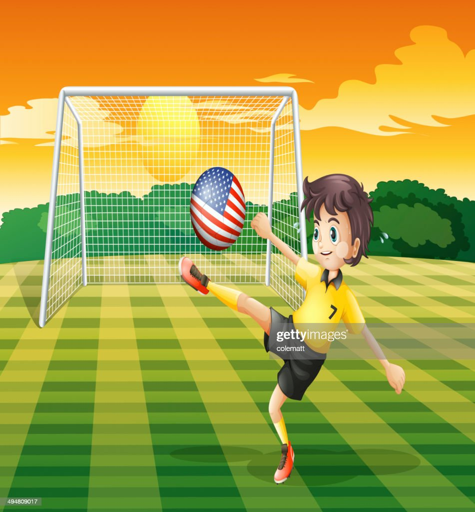 Lady player kicking the ball with flag of United State