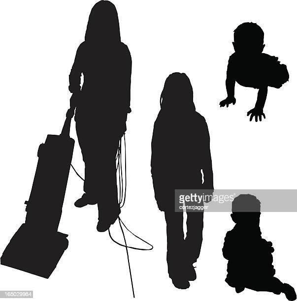 ilustrações, clipart, desenhos animados e ícones de lady, pré-adolescentes, bebês silhueta (ilustrações vetorizadas - engatinhando