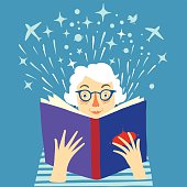 Lady reading a book cartoon illustration