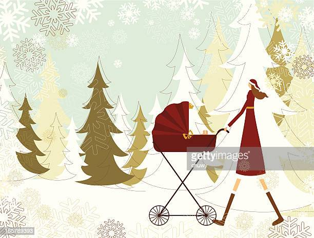lady santa and baby on christmas - three wheeled pushchair stock illustrations, clip art, cartoons, & icons
