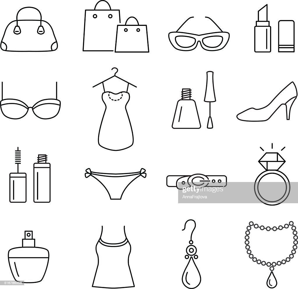 Lady Shopping Icons