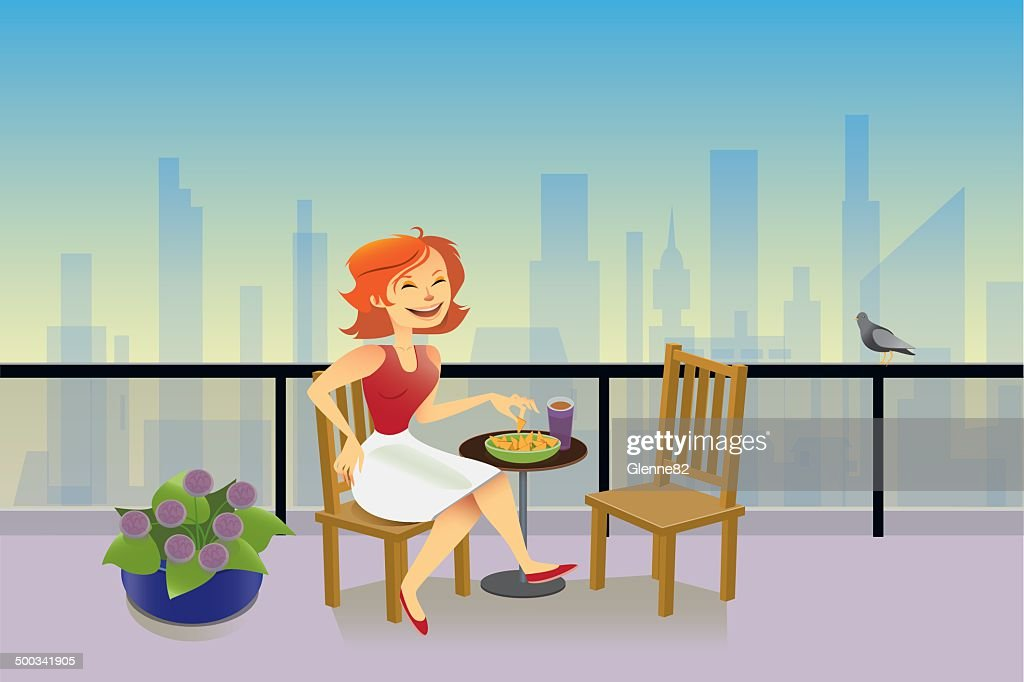Lady Sitting on Balcony Overlooking the City