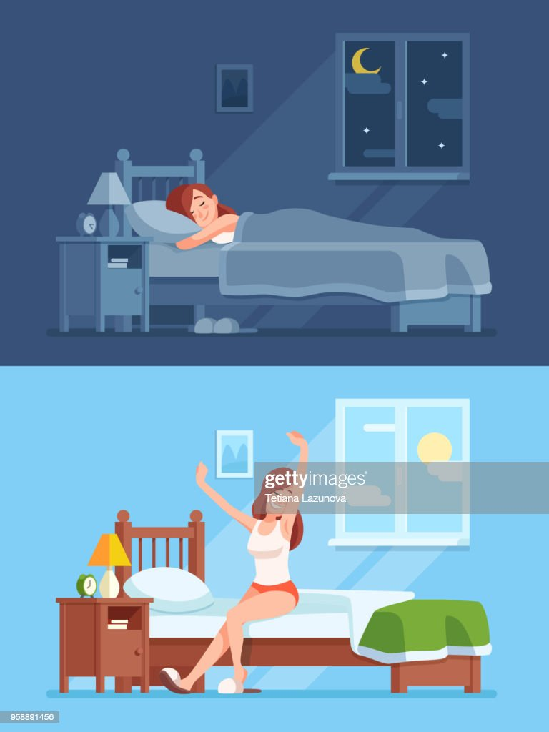 Lady sleeping under duvet at night, waking up in morning and stretching sitting on mattress. Woman sleep in bed cartoon vector concept