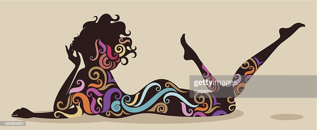 Lady with colourful swirls.