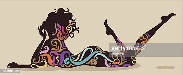 lady with colourful swirls. - human sexual behavior stock illustrations, clip art, cartoons, & icons