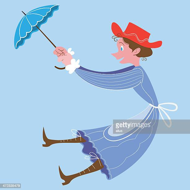 lady with umbrella - nanny stock illustrations