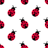 Ladybird decoration pattern. Ladybug seamless pattern design.