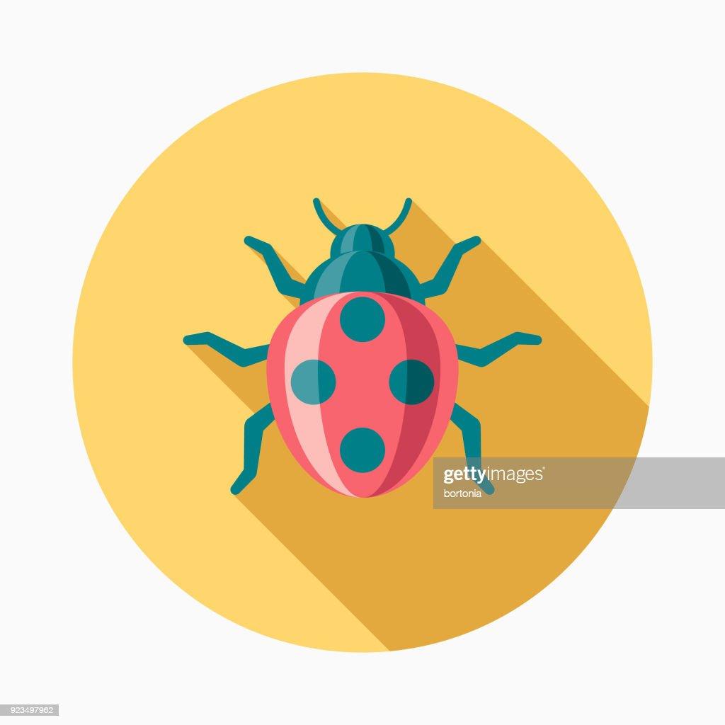 Ladybug Flat Design Easter Icon with Side Shadow : stock illustration