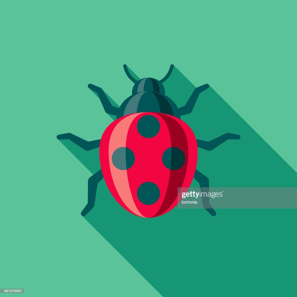 Ladybug Flat Design Gardening Icon with Side Shadow : stock illustration
