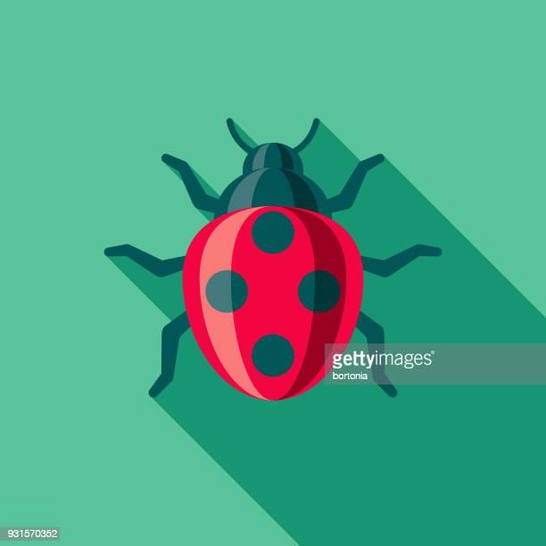 Ladybug Flat Design Gardening Icon with Side Shadow