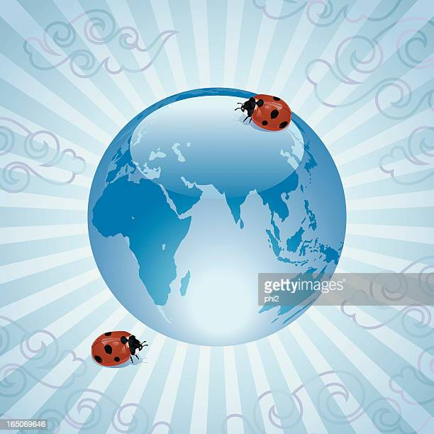Ladybugs with Glass World Sphere Vector