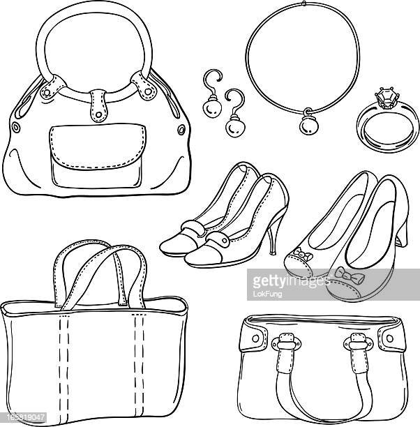 lady's bag and accessories in black white - high heels stock illustrations