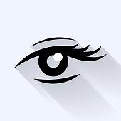 Lady's eye flat icon.