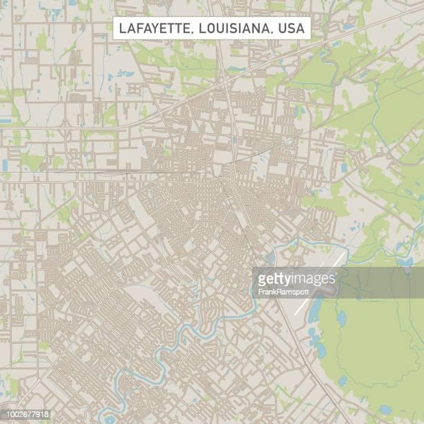 Lafayette Louisiana US City Street Map