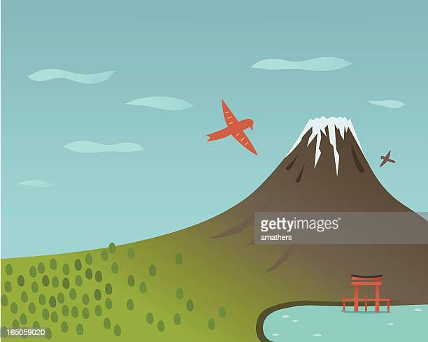 ilustrações, clipart, desenhos animados e ícones de lago em fuji - mt. fuji