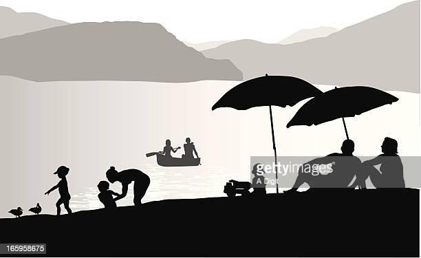 lake beach vector silhouette - lakeshore stock illustrations