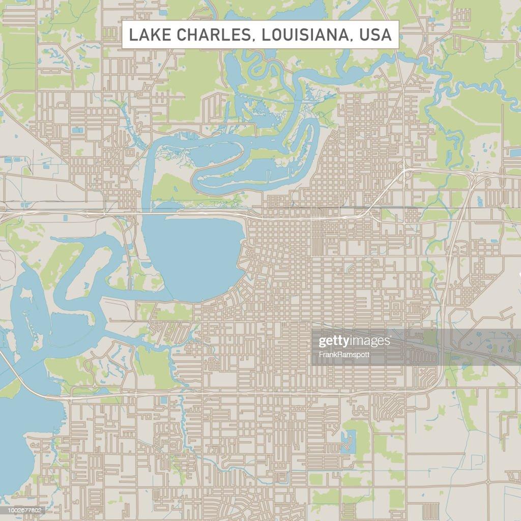Lake Charles, Louisiana USA Stadtstraße Karte : Stock-Illustration