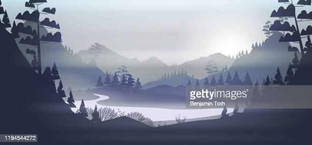 lake in a cold pine forest, and mountains - mountain logo stock illustrations