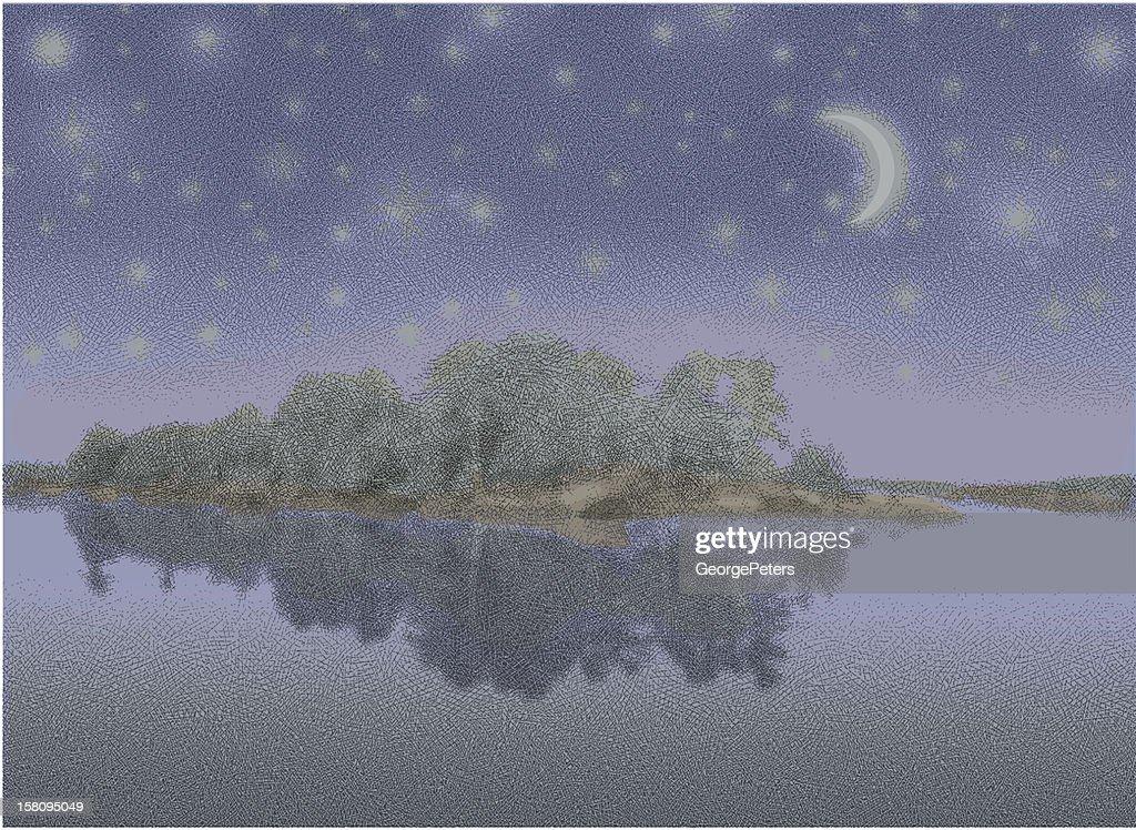 Lake, Island and Starry Night : Vector Art