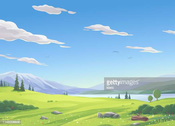 lake landscape - cloud sky stock illustrations