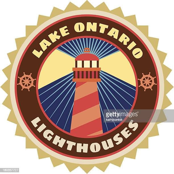 lake ontario luggage label or travel sticker - lake ontario stock illustrations, clip art, cartoons, & icons