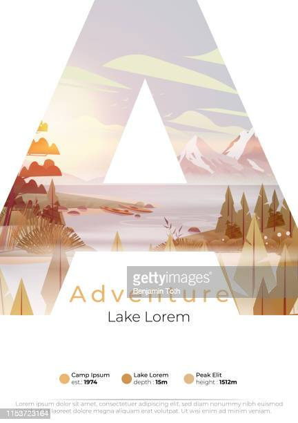 lake summer camp poster with pine forest,  and mountains - adventure stock illustrations