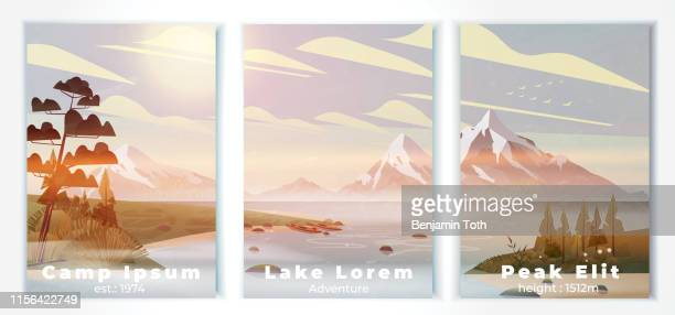 lake summer camp poster with pine forest,  and mountains - mountain logo stock illustrations