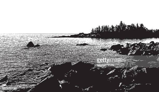 lake superior shoreline at sunrise - lakeshore stock illustrations