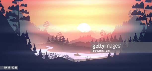 lake with boat in a pine forest, and mountains at sunset - mountain logo stock illustrations
