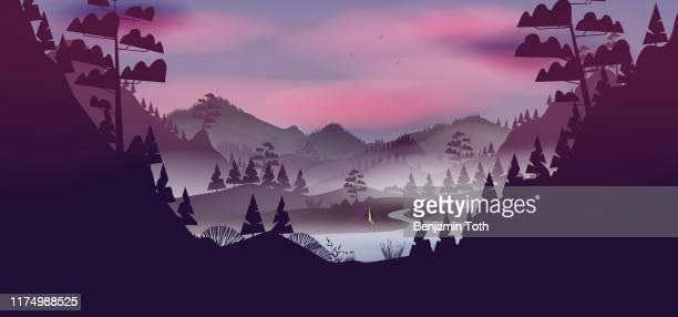 illustrations, cliparts, dessins animés et icônes de lac avec le paysage de forêt de pin la nuit - afrique paysage