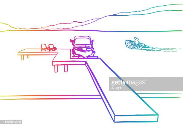 lakefront property rainbow - private property stock illustrations