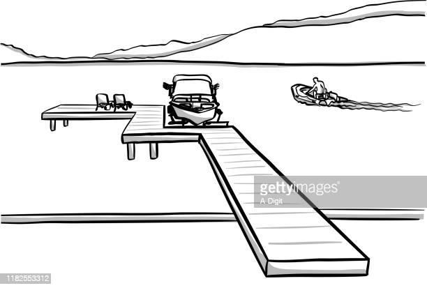 lakefront property - private property stock illustrations