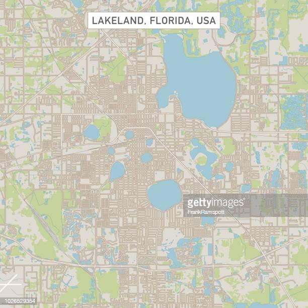 lakeland florida us city street map - lakeland florida stock illustrations