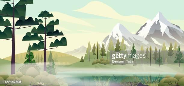 ilustraciones, imágenes clip art, dibujos animados e iconos de stock de bosque del lago en las montañas - valle
