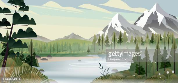 lakeside forest in the mountains - scenics nature stock illustrations