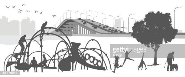 lakeside playground children - leisure facilities stock illustrations, clip art, cartoons, & icons