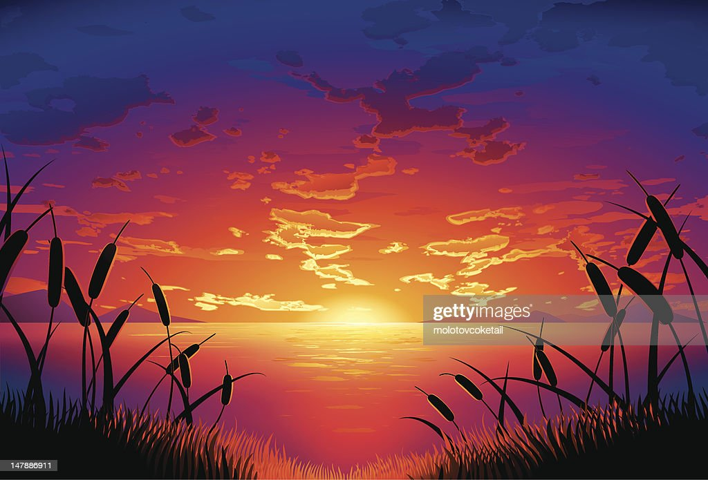 lakeside Sonnenuntergang : Stock-Illustration