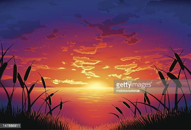 Illustrations et dessins anim s de coucher de soleil - Coucher de soleil dessin ...