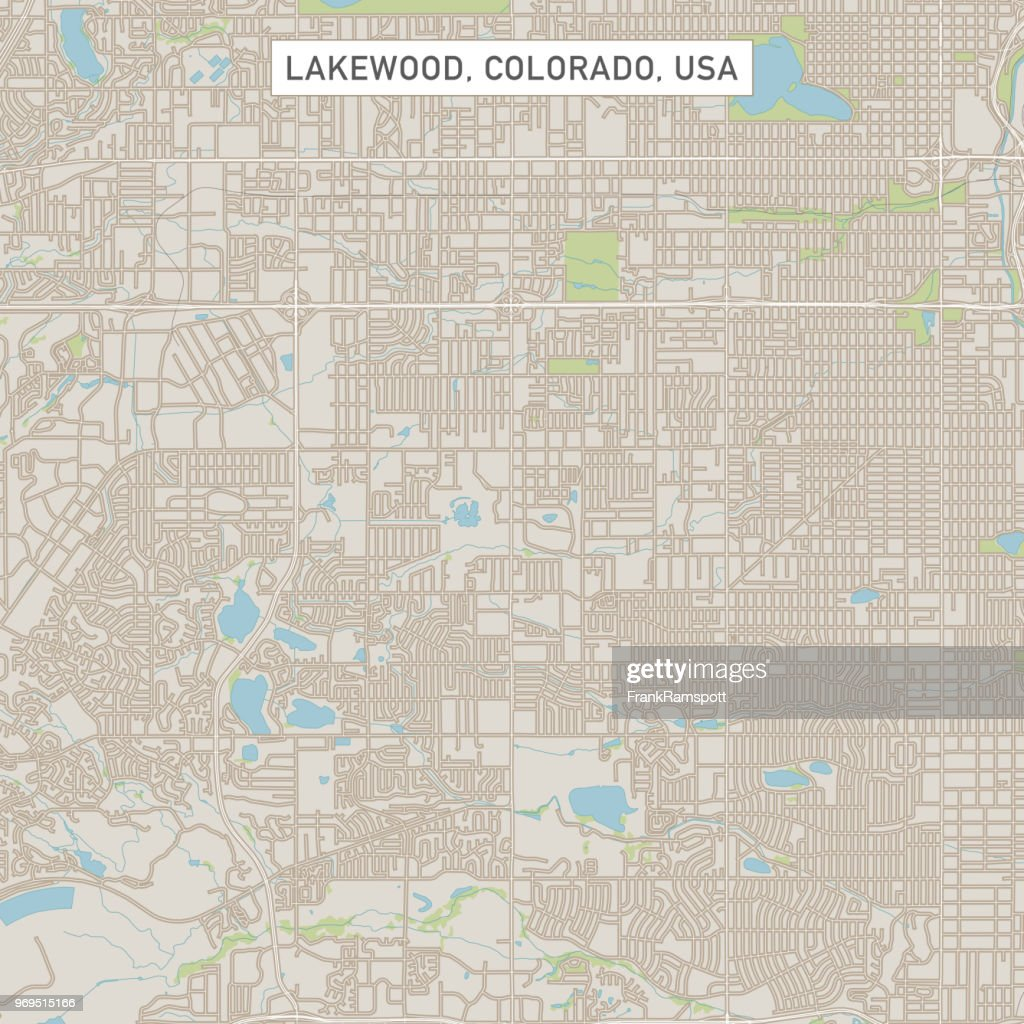 Lakewood Colorado Us City Street Map Vector Art | Getty Images