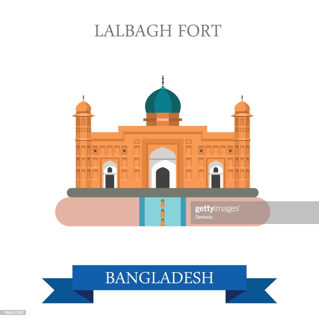 Lalbagh Fort in Dhaka, Bangladesh. Flat cartoon style historic sight showplace attraction web site vector illustration. World countries cities vacation travel sightseeing Asia collection.