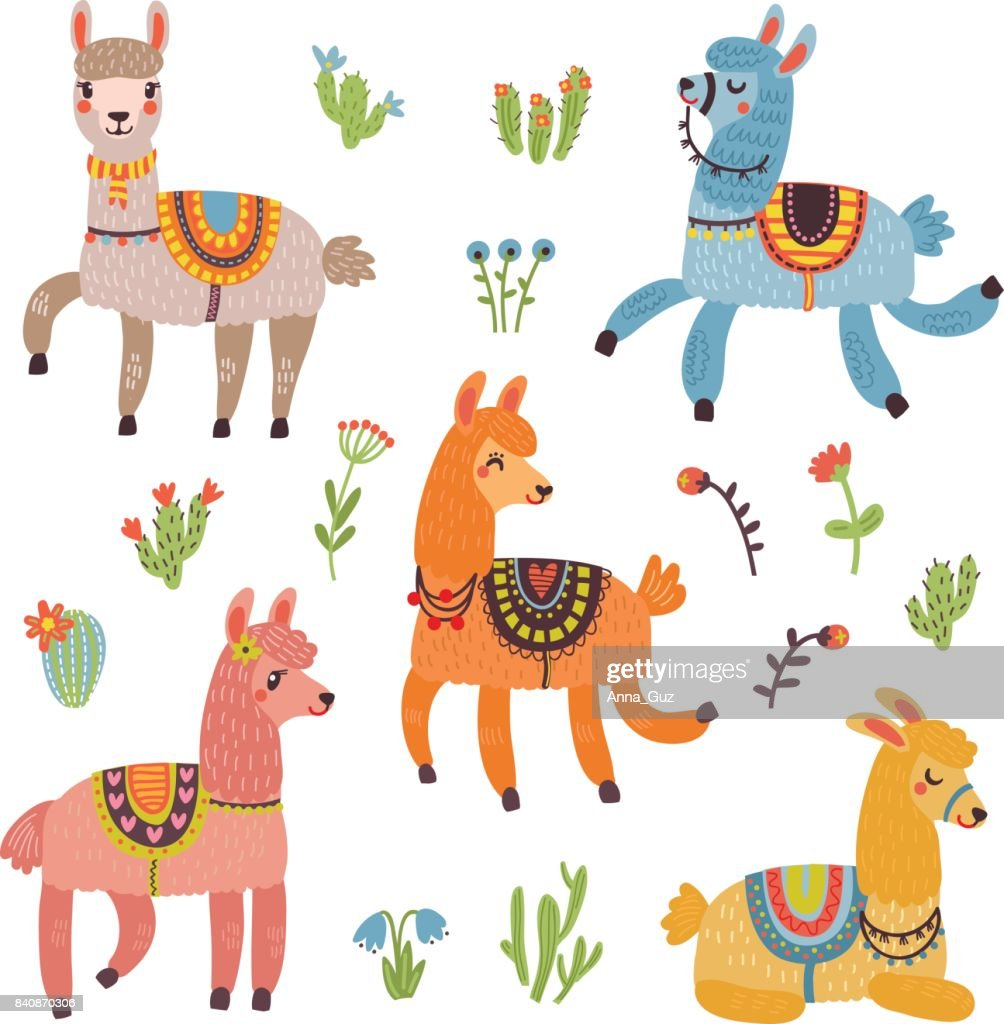 Lama vector card with characters