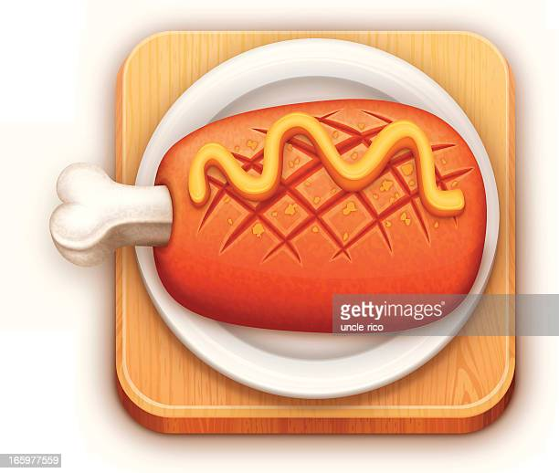 lamb roast leg on plate and board