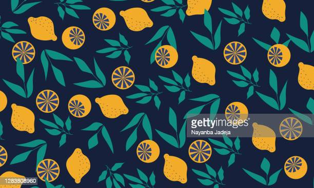 lamon fruit pattern on dark background - lemonade stock illustrations