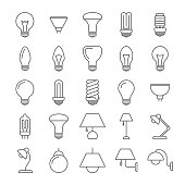 Lamp and light bulbs line icons collection