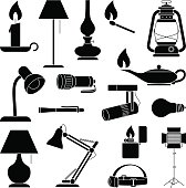 Lamp and Lighting Equipment Silhouettes