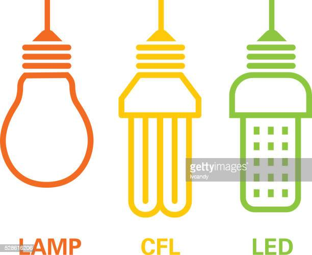 lamp, cfl and led - lighting equipment stock illustrations
