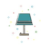 Lamp color thin line icon