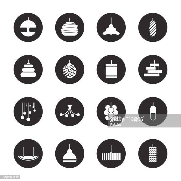lamp design icons - black circle series - steel cable stock illustrations, clip art, cartoons, & icons